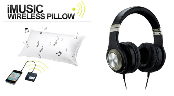 iMusic Wireless Pillow and High Fidelity Headphones